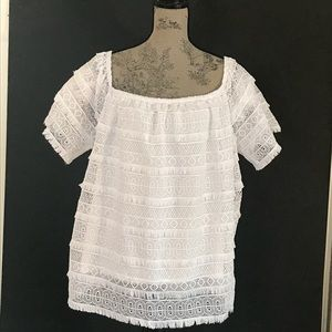 INC Lace Sleeves & Front Women's Top EUC Size 3X